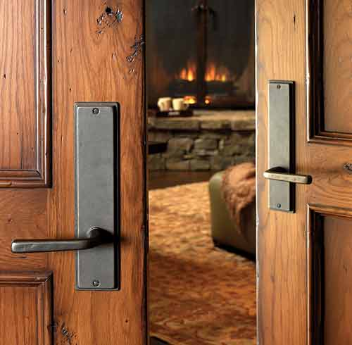Merveilleux Passage Hardware On Double Doors Shown In Silicon Bronze With A Dark Patina.