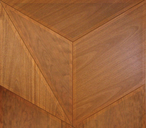 Lightweight Aluminum Panels With Real Wood Veneers Come Together In A Tessellated Pattern Micro Perforations Contribute To Acoustical Performance Yet