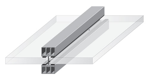example of extruded fire rated aluminum framing with crisp edges and narrow sightlines