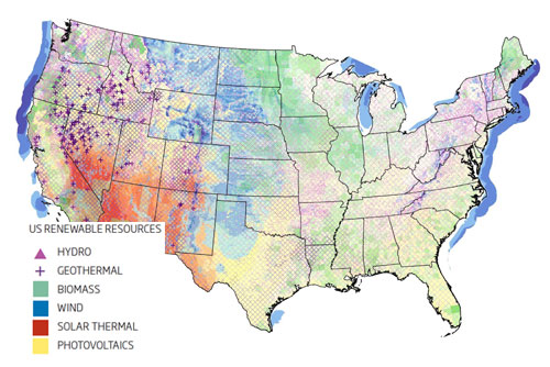 CE CENTER Off The Map - Renewable energy map us