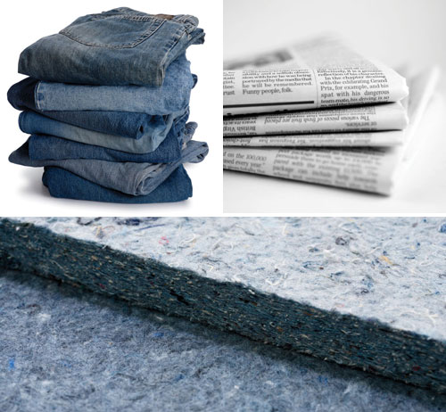 sound insulation can be from recycled materials such as newspapers for cellulose insulation or denim ultratouch