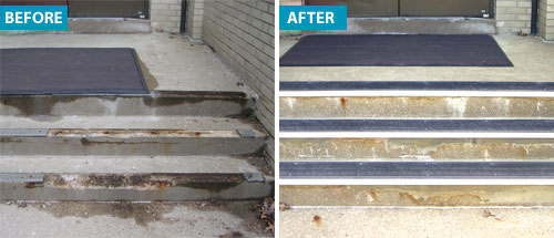 Left: Concrete Stairs Show Their Deteriorated Condition Before Using  Renovation Treads. Right: The Stairsu2014with New Renovation Treads  Installedu2014have Been ...