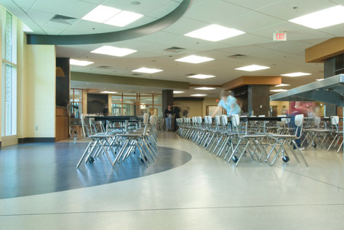 This Decorative Troweled Epoxy System In A Cafeteria Is Slip Resistant.  Photo Courtesy Of Stonhard