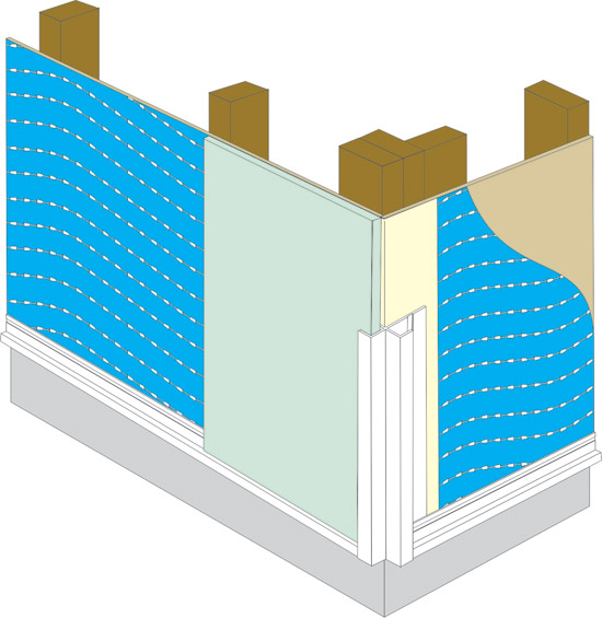 High performance drainable housewrap has spacers that create a drainage space between sheathing and cladding.