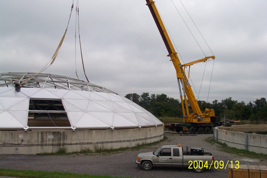 An innovative solution at Halton included the construction of the dome in an adjacent field and then lifting it into place with a crane.