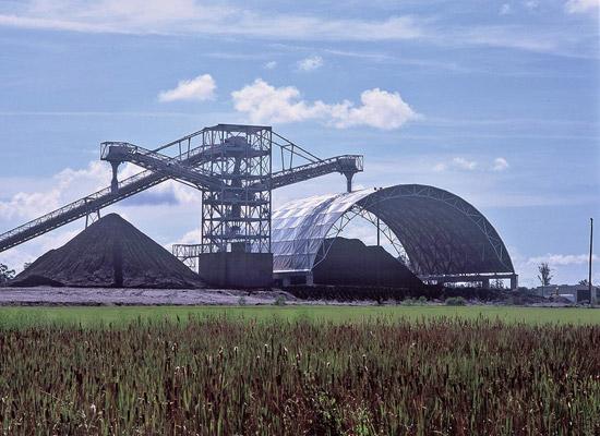 Aluminum vault in Gainesville, Florida over a coal stockpile.
