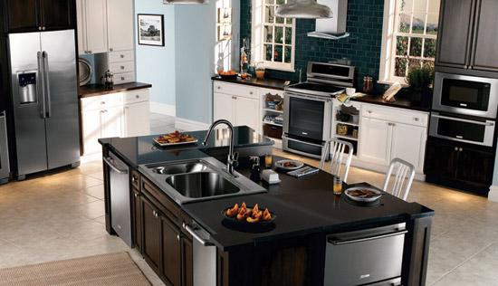 ce center using built in appliances to enhance design. Black Bedroom Furniture Sets. Home Design Ideas