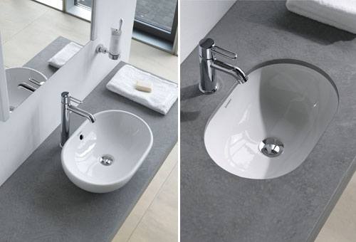 wash basins can be designed to sit on top of a vanity furniture piece or be mounted beneath in an undermount design