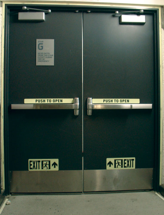 New York City\u0027s Barclays Center emergency stairwell exit door with markings & CE Center -
