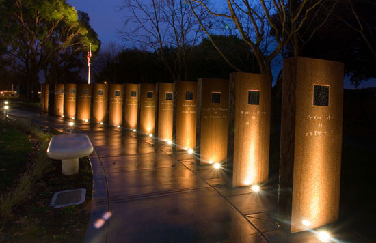 Flight 93 Memorial, Union City, California. The length of a project must be considered when selecting how the installation will be powered, because low-voltage wires experience a voltage drop over long distances, which affects light output.