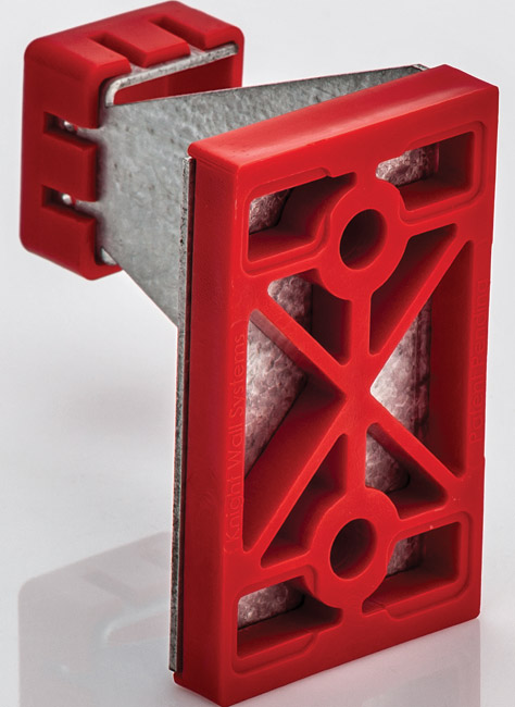 A bracket typically used with mineral fiber insulation. Note the webbed thermal isolation base which not only reduces thermal transfer due to lower conductivity, but also reduces contact area with the substrate by approximately 60%.