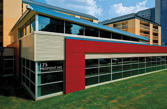 Horizontal Metal Wall Panels In A Metallic Color Are Integrated With The  Rest Of A Building