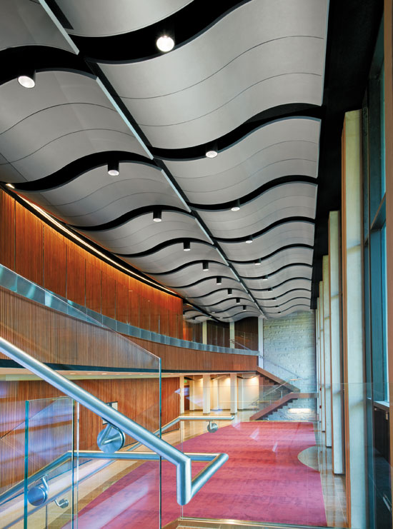 Clouds and canopies are three-dimensional ceilings that are available in a variety of materials and acoustical properties.