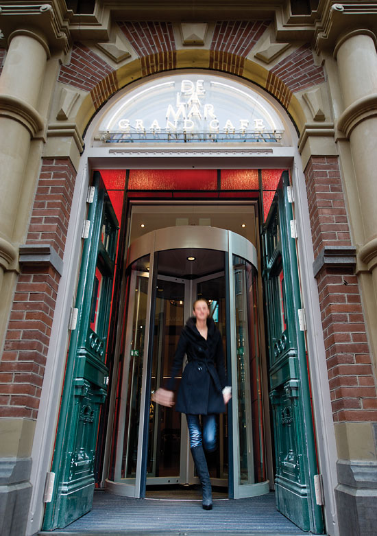 """Revolving doors have maintained an """"always open to people, always closed to the elements"""" approach since 1888."""