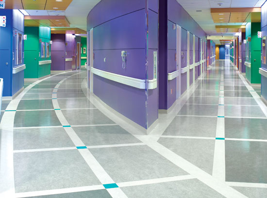The Patewood Memorial Hospital in Greenville, South Carolina, used linoleum flooring that contributes to a positive life-cycle assessment for buildings.
