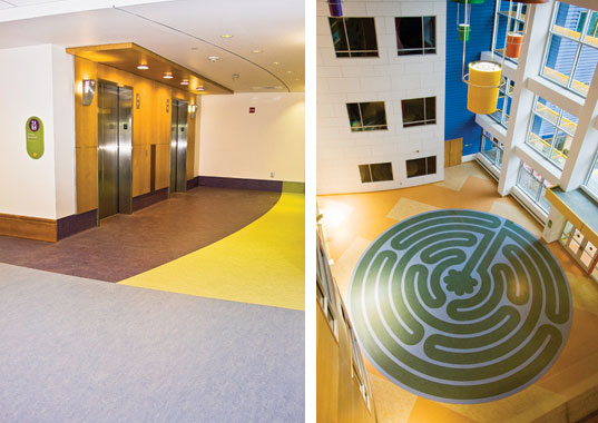 The Children's Hospital of Pittsburgh used linoleum flooring for an environmentally safe, clean, and attractive design solution that contributed to a sustainable building design.