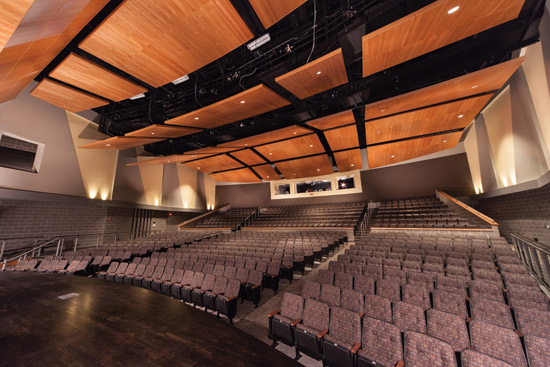 Sound reflectors used on a ceiling help to direct sound towards the listener and enhance the audience experience.