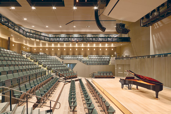 The San Francisco Jazz Center includes sound-absorbing duct liner in HVAC ductwork to eliminate unwanted background noise.