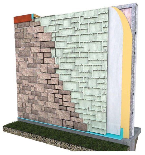 In a foam panel system, foam is applied over sheathing, flashing, and one to two layers of a weather-resistant barrier. Foam panels offer the advantage of CI, water control, and multiple patterns of face material.