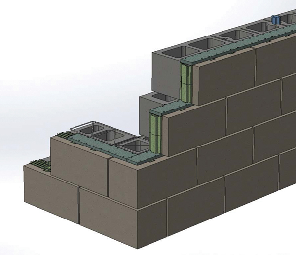 Insulated masonry block systems form the wall, and were specifically designed to be code compliant and energy efficient.