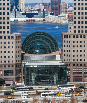 A View Of Brookfield Place Looking Across The WTC Site. The Curving Glass  Enclosure Of