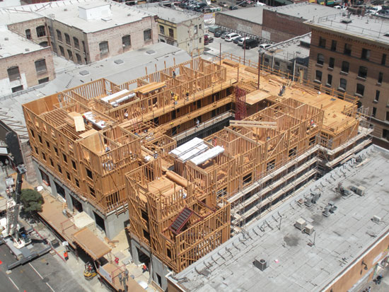 Ce center mid rise wood construction for Used lumber los angeles
