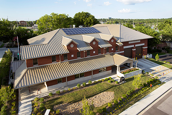 The long life of standing-seam metal roof panels make them the most popular option for solar panel installation. This Snap-Clad metal roof helped the Madison, Tenn., Fire Station earn a LEED Gold certification.