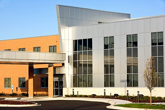 The Chanooka Healthcare Center uses a striking bright silver metallic PAC-3000 RS rainscreen system to create a high-tech look designed by CD Group, Mount Prospect, Ill. The composite wall panel rainscreen system was fabricated by Petersen Aluminum.