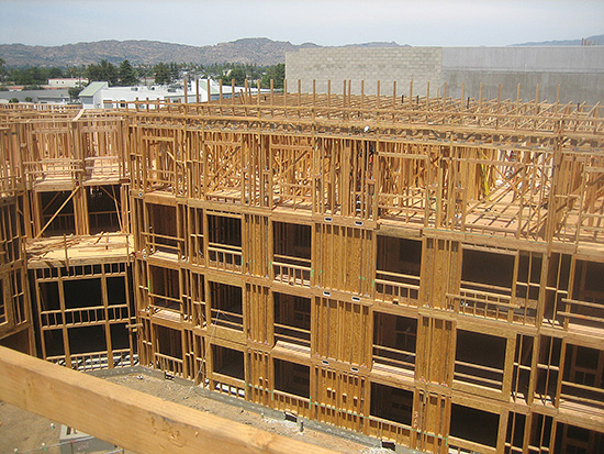 Structures with ductile detailing, redundancy and regularity are favored for seismic force resistance. This structure includes repetitive wood framing and ductile nailed wood structural panel shear walls and diaphragms.