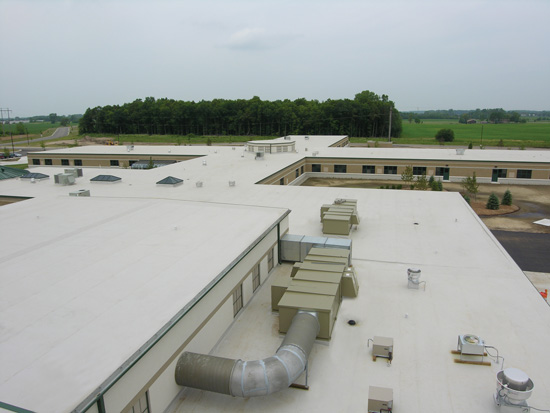 Rooftop HVAC equipment has been shown to work more efficiently in combination with a cool roof.