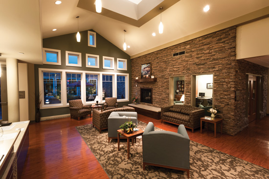 The living area of the VibraLife facility demonstrates that the use of natural materials can provide an elegant and welcoming center in a health care setting.