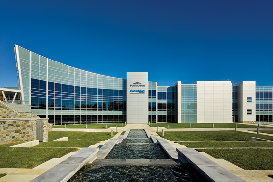 Saint-Gobain North America used electrochromic glazing to help achieve points under both the Indoor Environmental Quality (IEQ) and Energy and Atmosphere credits in its quest to achieve LEED Platinum certification in its new headquarters building in Malvern, Pennsylvania. The company's goal was to provide a comfortable, well-day-lit environment to support the health and well-being of its employees without compromising energy performance and in line with its corporate sustainable habitat strategy.