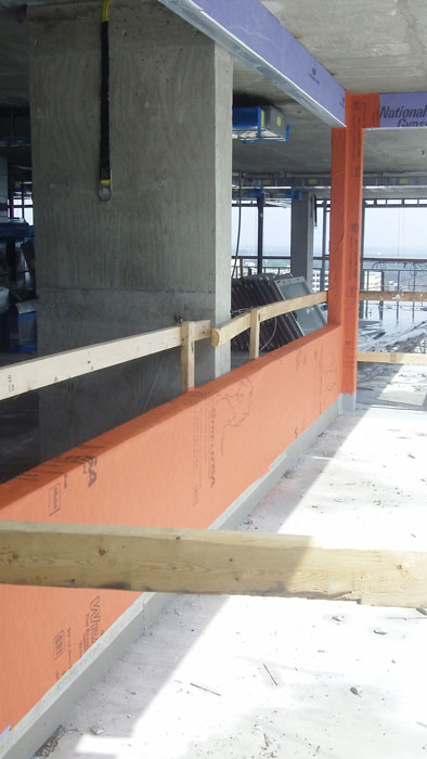 The WRB/air barrier selected for the building requires no primer and can be applied in wet or cold conditions.