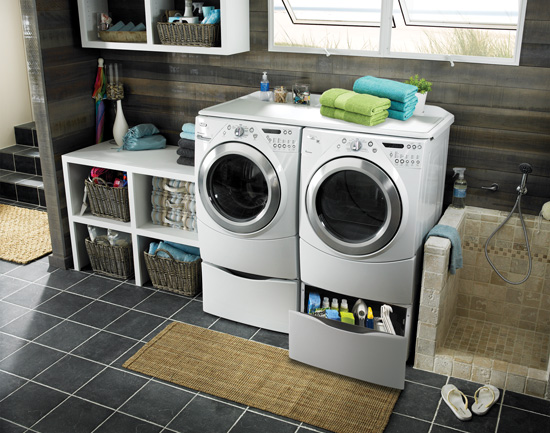 Front-loading washers and dryers offer better energy efficiency and easier accessibility, with the option of storing detergents and laundry products more conveniently.