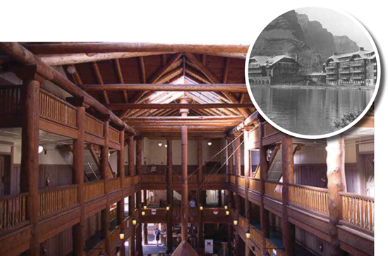 Completed in 1915, the Many Glacier Hotel, located in Montana's Glacier National Park, is still in use today.