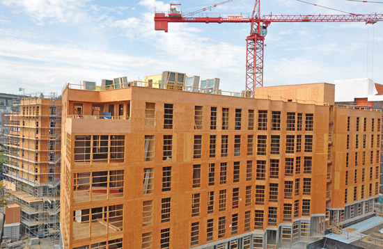For this project in the Pacific Northwest, plywood sheathing is used as an exterior substrate, onto which the weather-resistant barrier and cladding would be attached.