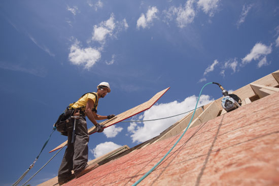 While wood structural panel sheathing of consistent grade and thickness is used over the length of the roof, two fastening schedules are often specified—one for roof areas outside edge zones and a second for higher wind pressure roof areas within the edge zones where fasteners are more closely spaced.