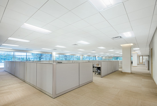 High-performing mineral fiber ceilings are good choices where noise from occupants is likely to reach high decibel levels, such as in crowded offices or school cafeterias.