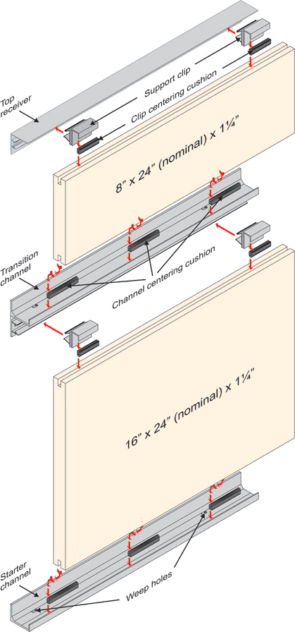 Track systems are used to hang thin veneer in either vertical or horizontal applications.