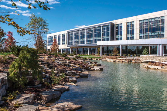 The Gordon Food Service Headquarters building uses high-performance glass to achieve daylight, energy efficiency, and other LEED benefits.