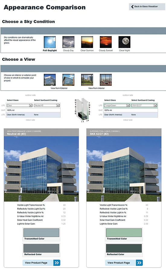Online tools from glass manufacturers allow architects to review, select, and envision different choices in available glazing products.