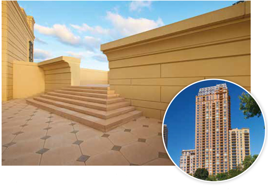 Precast concrete was used as the enclosure system for this high-end,  high-rise, residential building in Chicago. The architect made extensive  use of detailed formwork to create extensive balconies, decorative features,  detailed cornices, and more. A medium sand-blast finish was used with three different mix designs, resulting in different colors for each of the three towers.