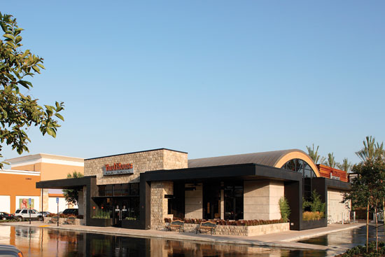 The U.S. commercial building stock is relatively old, with about half of all buildings constructed before 1980.25 As these buildings are eventually replaced, designers have an opportunity to reduce environmental impact by using wood both for structure and finishes. Designed by MBH Architects, the 6,500 square feet Yard House Bar and Grill in Chino Hills, California, includes a variety of wood products, including dimension lumber framing, solid Douglas fir truss posts, Douglas fir glulam beams, wood I-joists, and plywood sheathing.