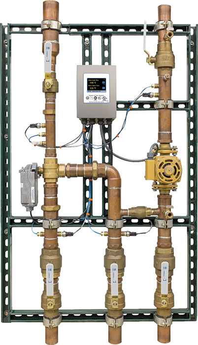 A digital mixing and recirculation station simplifies the regulation and metering of hot water.
