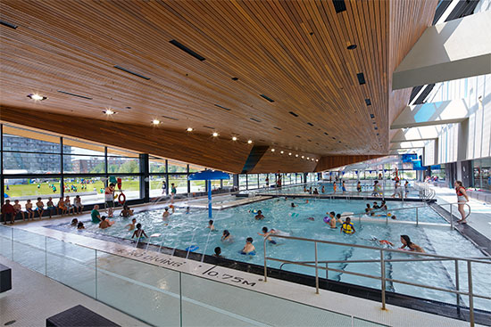 The award-winning, sustainably designed Regent Park Aquatic Centre in Toronto designed by MacLennan Jaunkalns Miller Architects employs Western Red Cedar for its large and expressive soffit.