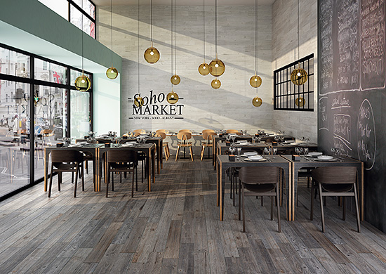 Today, ceramic and porcelain tile are manufactured with less energy and increased water recapture as compared to 10 years ago. That makes equivalent products, such as these tile planks with a look of reclaimed wood, more cost-effective for the end-user.
