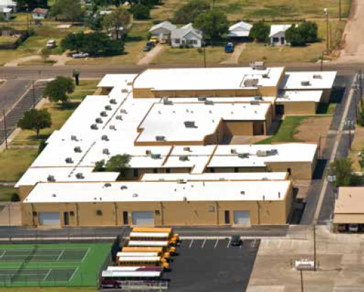 There is a long-debunked perception that vinyl is harmful to building occupants. It is not. And its clean installation is considered safer than roofing systems involving tar and hot pots. A vinyl roof was installed on Tulia High School in Tulia, Texas.