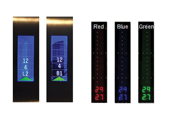 Examples of LCD (left) and segmented LED in-car annunciator models.