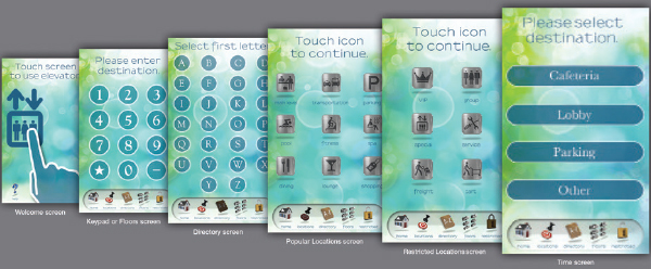 Examples of passenger graphic interface screens that serve as a virtual concierge.