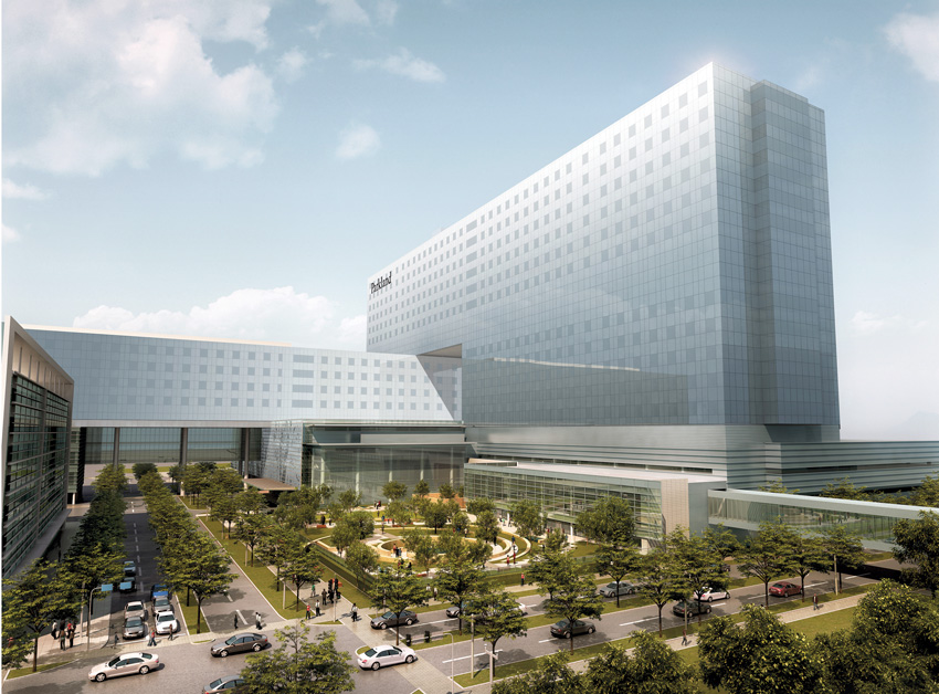 Photo of the Parkland Hospital in Dalla, Texas.